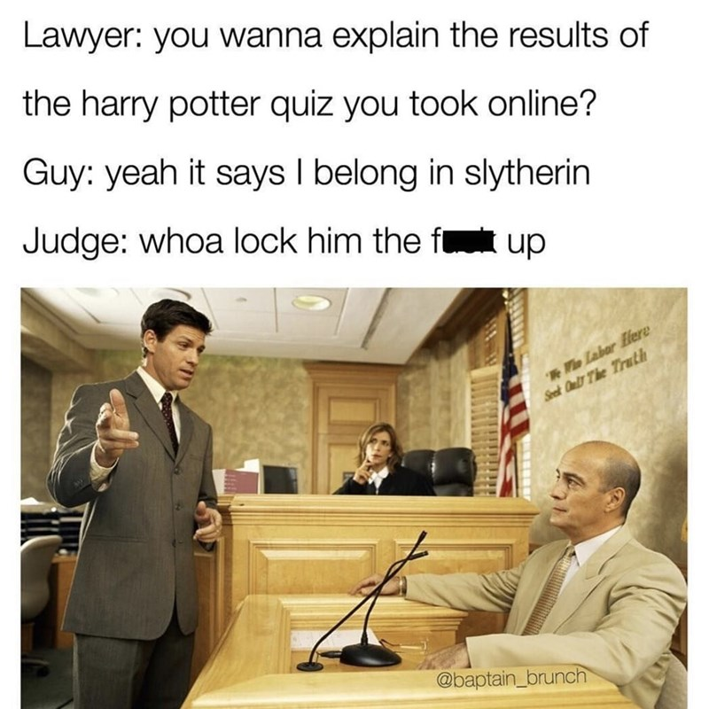 meme about the judicial system using Hogwarts houses alignments to make decisions in court