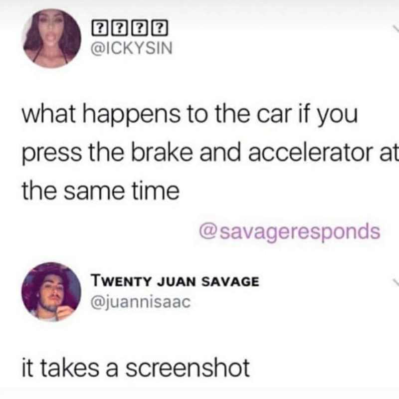 Twitter meme about car taking screenshots if you press the brake and accelerator at the same time