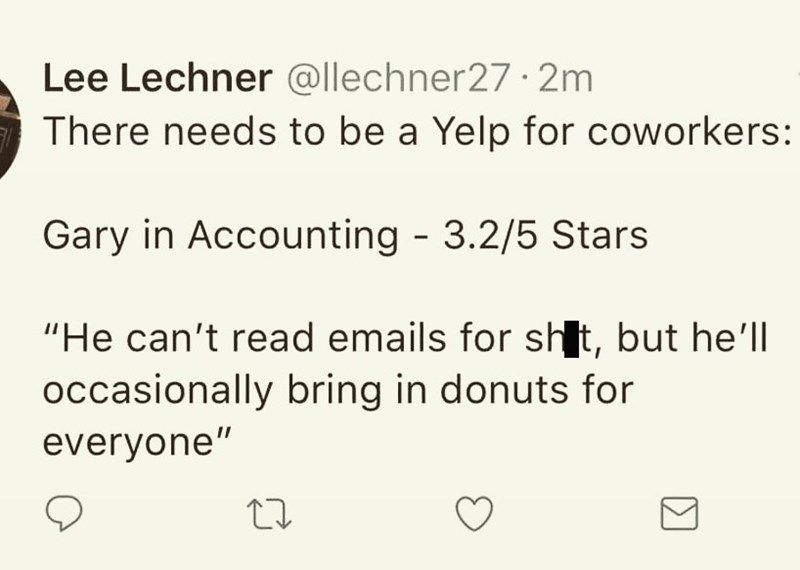 Tweet about using Yelp to rate coworkers