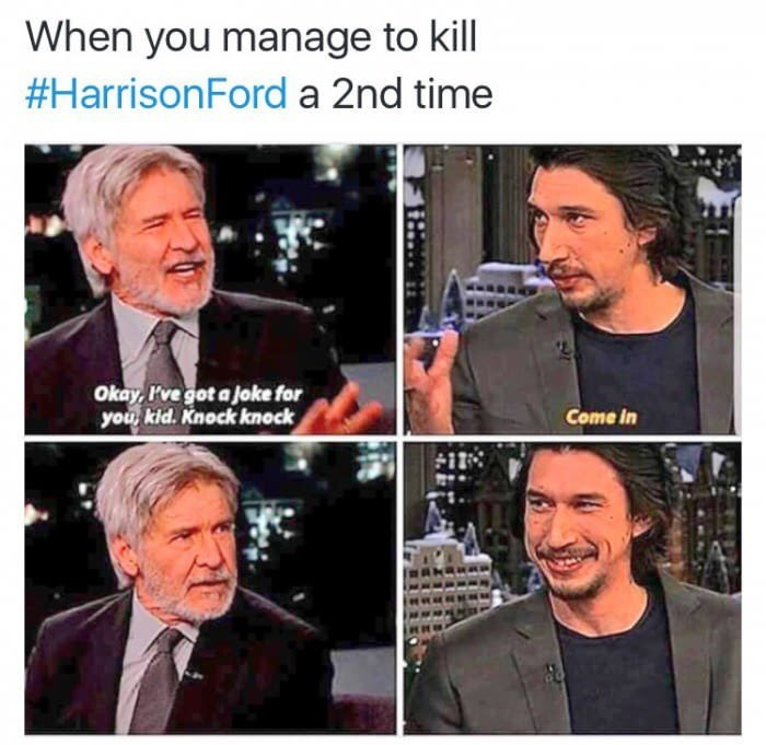 Star Wars meme about Kylo Ren killing Han Solo a second time by ruining his knock knock joke