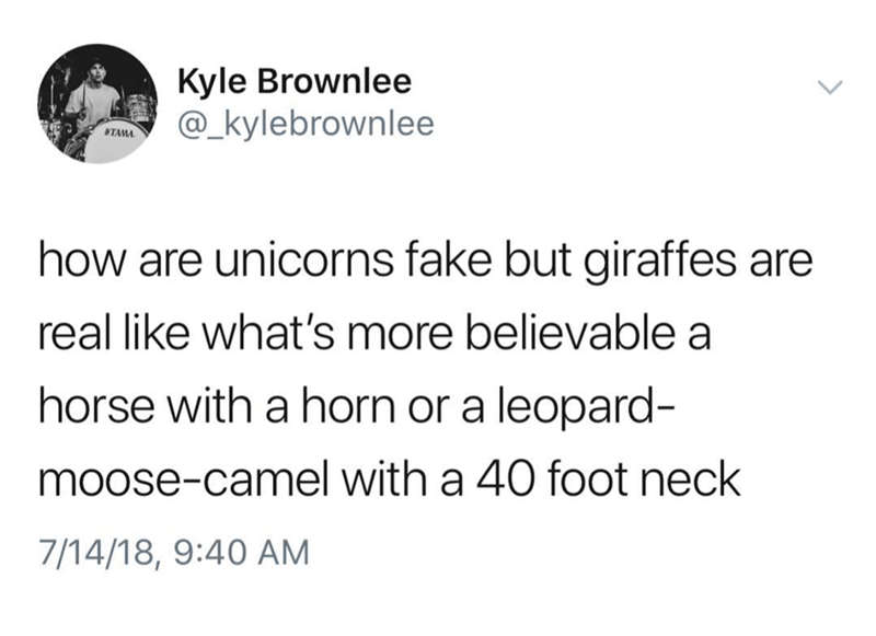 Tweet questioning how unicorns are fake when giraffes are real creatures