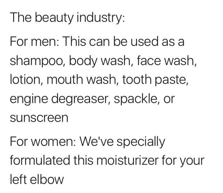 meme about differences between men and women's beauty industries