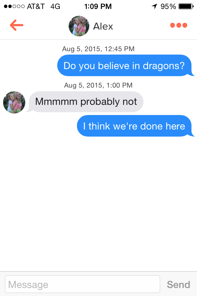 meme about not believing in dragons being a turnoff