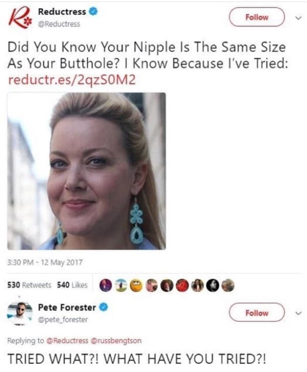 Tweet responding furiously to article about nipples being the same size as buttholes