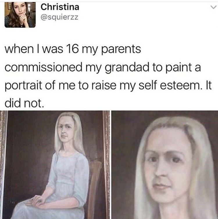 painting of old looking girl was parents' attempt to raise daughter's self esteem