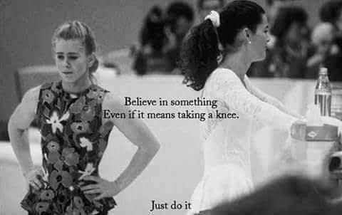 Colin Kaepernick's Nike campaign slogan about taking a knee over picture of Tonya Harding