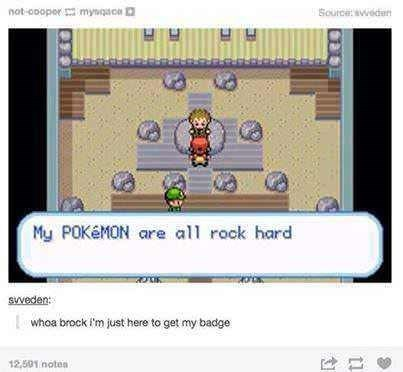 screencap from Pokemon game of gym leader Brock describing his rock type Pokemon