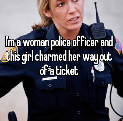 Audio equipment - Ima woman police officer and) this qirl charmed her way out of a ticket A LOVAY