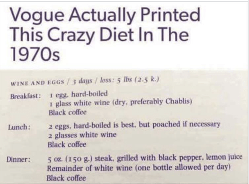 """Caption that reads, """"Vogue actually printed this crazy diet in the 1970s"""" above a disgusting diet that features hard-boiled eggs, wine, coffee and 50z of steak per day"""