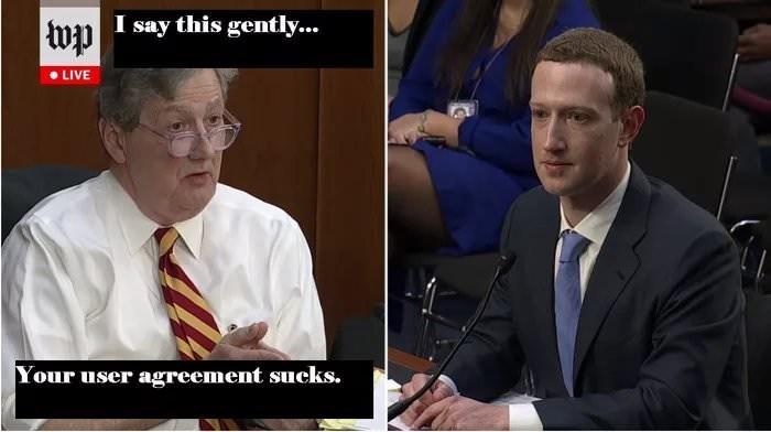 Mark Zuckerberg looking shaken at being told his user agreement sucks