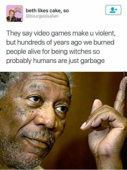 Tweet about humans being violent even before video games with picture of Morgan Freeman pointing up in agreement