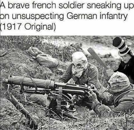 Cat in the Hat holding a baseball club photoshopped into picture of German infantry in 1917