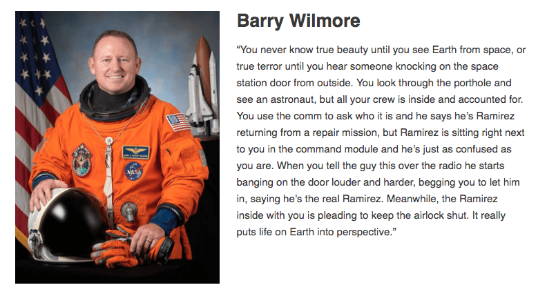 astronaut Barry Wilmore tells space horror story to put life on Earth into perspective