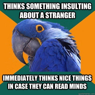 awkward parrot meme about thinking nice thought about people in case they can read minds