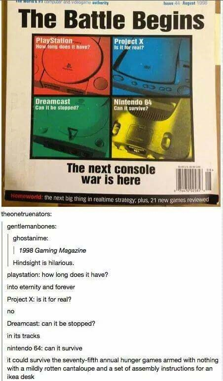 old gaming magazine showing the big names in the console war of the time with Tumblr thread describing what became of them in the present
