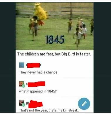 Big Bird's kill streak of children in 1845
