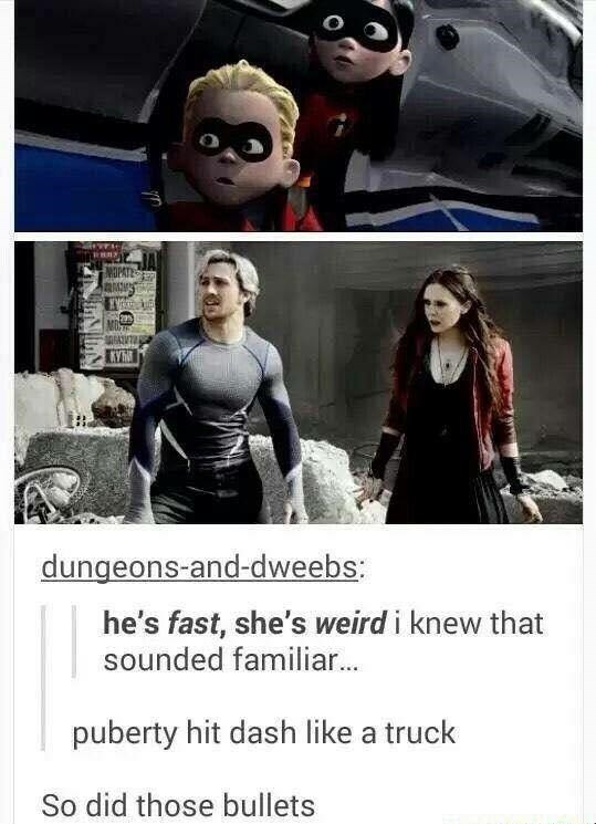 Dash and Violet from the Incredibles grow up to be Quicksilver and Scarlet Witch from Marvel