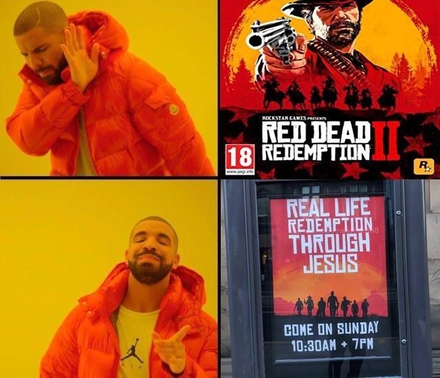 Drake Hotline meme approving of real life redemption over the Red Dead Redemption game