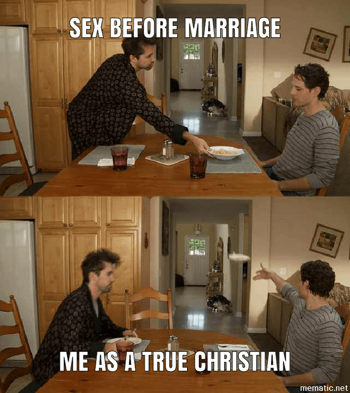 Always Sunny meme with Dennis throwing away a plate representing a true Christian refusing sex before marriage