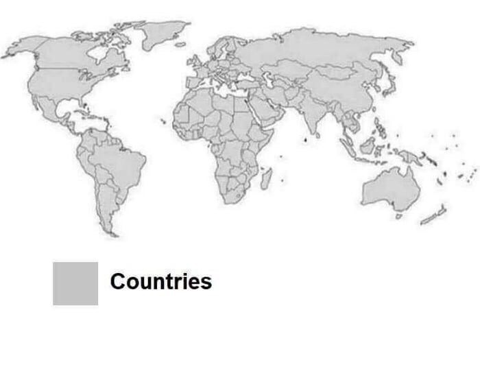 world map with all of the countries colored in gray