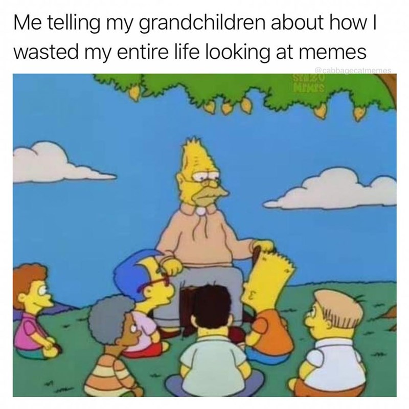 Funny me me about wasting time looking at memes, the simpsons.