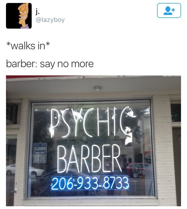 Funny meme about psychic barber