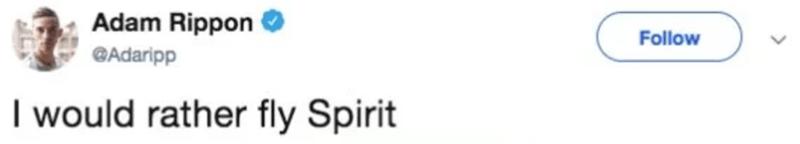 Text - Adam Rippon Follow QAdaripp I would rather fly Spirit