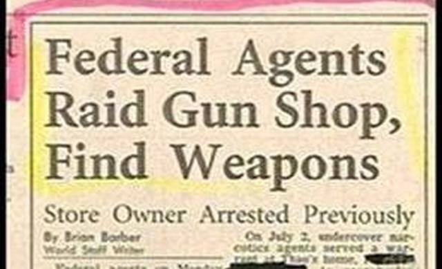 headline - Font - Federal Agents Raid Gun Shop, Find Weapons Store Owner Arrested Previously Or B Barber Warld Saff We Ca July 2ndercever nar CUCE St serred a war