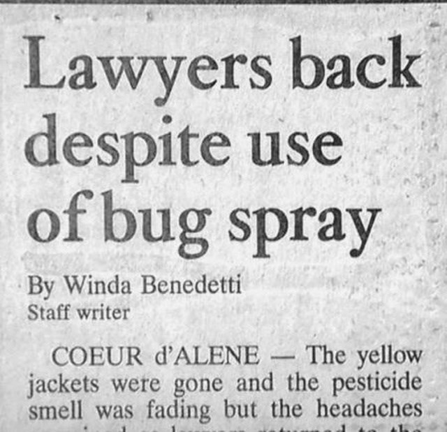 headline - Font - Lawyers back despite use of bug spray By Winda Benedetti Staff writer COEUR d'ALENE The yellow jackets were gone and the pesticide smell was fading but the headaches