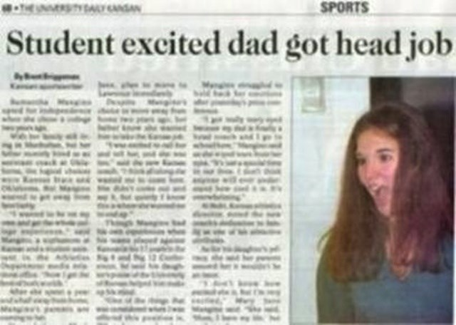 headline - Hair - SPORTS ASAN Student excited dad got head job
