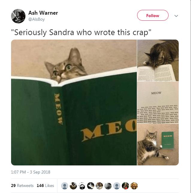 "Cat - Ash Warner Follow @AlsBoy ""Seriously Sandra who wrote this crap"" MEOW mar ea se e, e se ww.away so se eow MEC MEOW 1:07 PM - 3 Sep 2018 29 Retweets 146 Likes MOBK"
