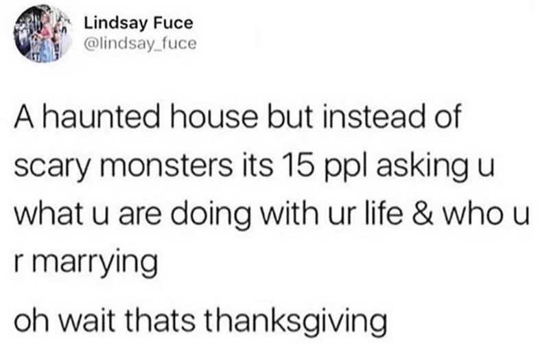 meme - Text - Lindsay Fuce @lindsay_fuce A haunted house but instead of scary monsters its 15 ppl asking u what u are doing with ur life & who u r marrying oh wait thats thanksgiving