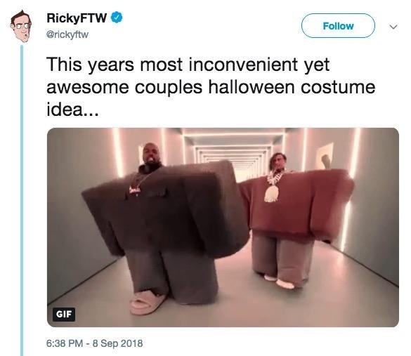 Product - RickyFTW Follow @rickyftw This years most inconvenient yet awesome couples halloween costume idea... GIF 6:38 PM-8 Sep 2018