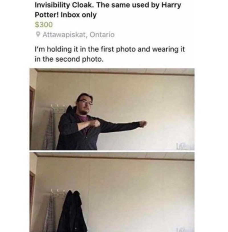 "Funny online advertisement of a guy selling an ""invisibility cloak"" for $300"