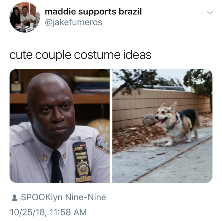 Adaptation - maddie supports brazil @jakefumeros cute couple costume ideas HOLT SPOOKIYN Nine-Nine 10/25/18, 11:58 AM