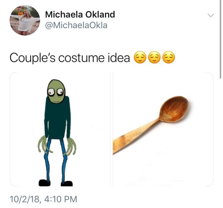 Cartoon - Michaela Okland @MichaelaOkla Couple's costume idea 10/2/18, 4:10 PM