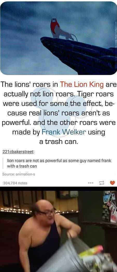 Text - The lions' roars in The Lion King are actually not lion roars. Tiger were used for some the effect, be- roars cause real lions' roars aren't as powerful. and the other roars were made by Frank Welker using a trash can. 221cbakerstreet lion roars are not as powerful as some guy named frank with a trash can Source: animation-s 304,784 notes