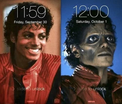 Pic of Michael Jackson from the 'Thriller' music video at 11:59 on September 30 next to a pic of him as a zombie in the same music video at 12 on October 1