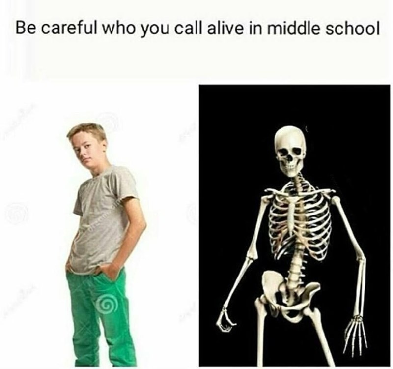 "Caption that reads, ""Be careful who you call alive in middle school"" above a stock photo of a middle school kid next to a skeleton"
