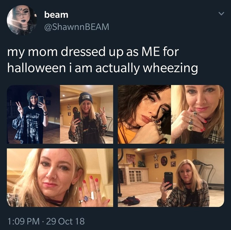 """Caption that reads, """"My mom dressed up as me for Halloween. I am actually wheezing"""" above pics of a mom dressed up as her daughter"""