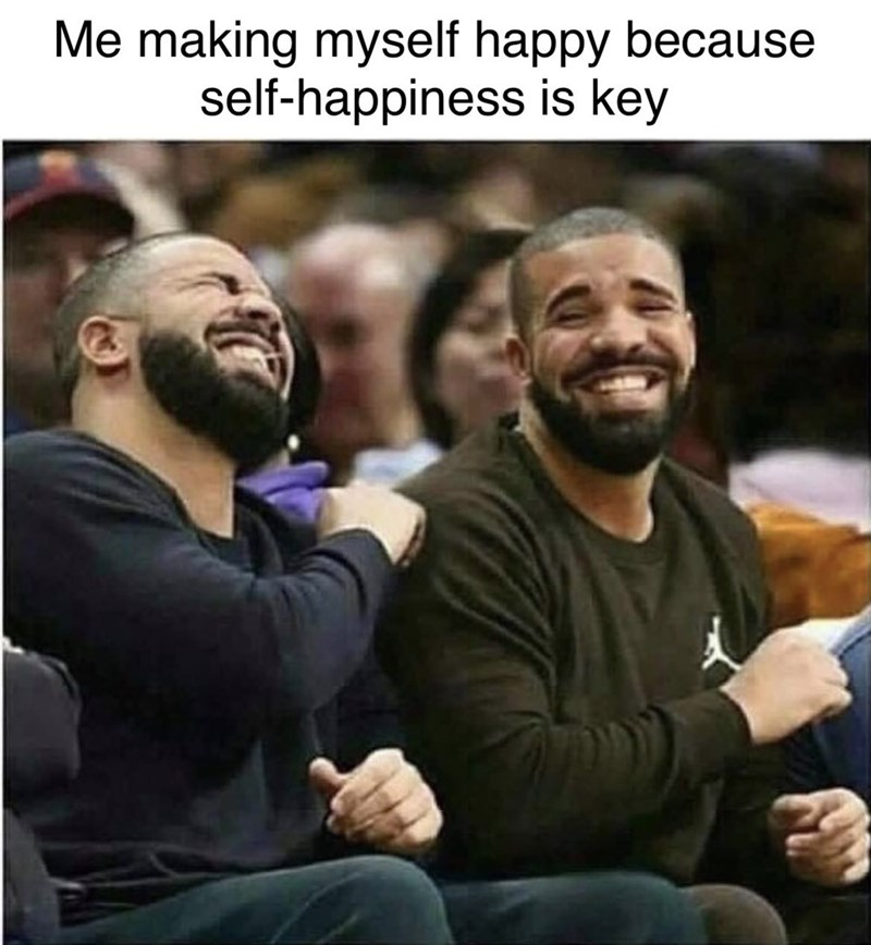 "pictures of two Drakes laughing together captioned ""making myself happy because self happiness is key"""