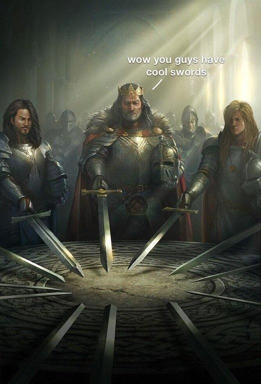 swords united meme where one of the characters comments on the others' swords