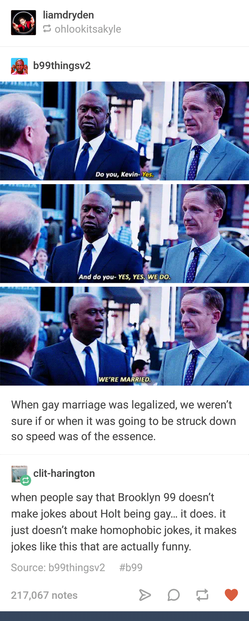 Brooklyn 99 meme about gay marriage with picture of Holt and Kevin