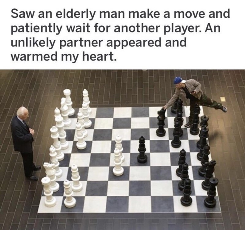 picture of giant chess board with elderly man playing against an unlikely partner