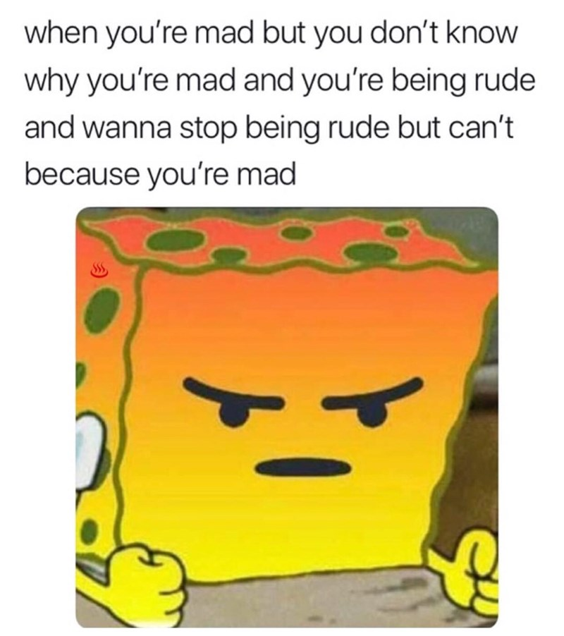 "Caption that reads, ""When you're mad but you don't know why you're mad and you're being rude and wanna stop being rude but can't because you're mad"" above a pic of angry Spongebob"