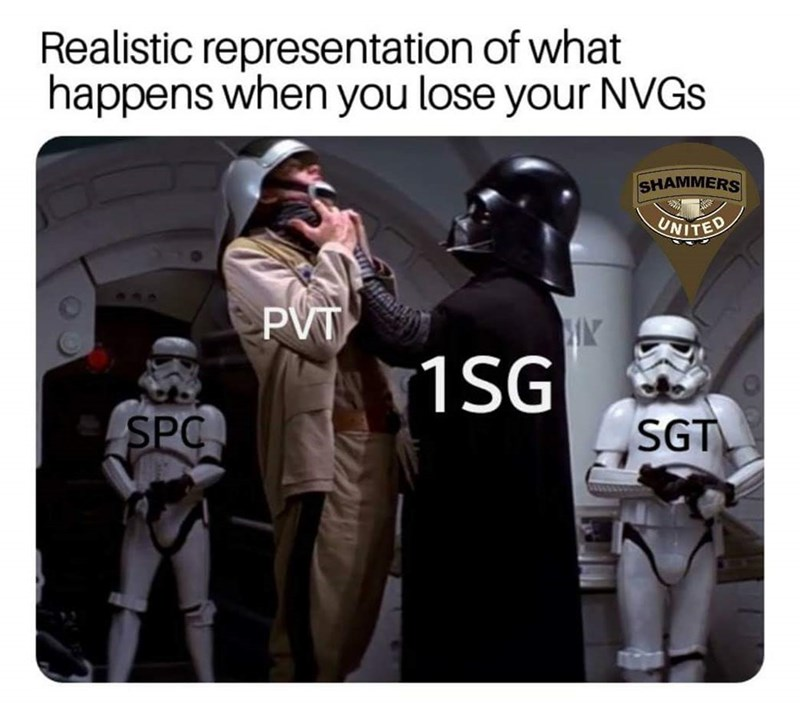 Fictional character - Realistic representation of what happens when you lose your NVGS SHAMMERS UNITED PVT 1SG| SGT SPC