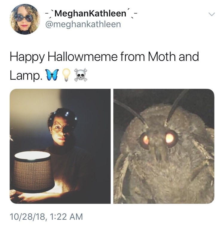 picture of person dressed as moth holding lamp for Halloween