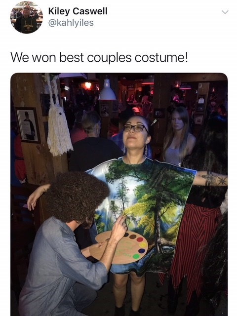 best couples costume winners dressed as Bob Ross and painting meme for Halloween