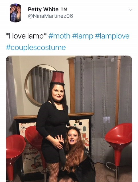 couples costume of moth and lamp meme for Halloween