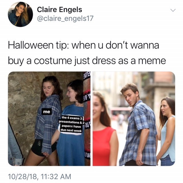 girls dressed as distracted boyfriend meme for Halloween